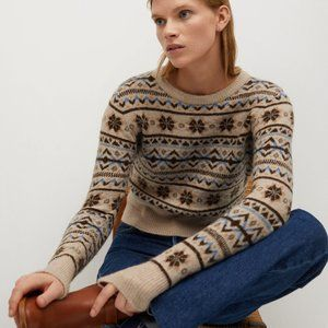 Mango MNG Printed Knit Wool Blend Sweater